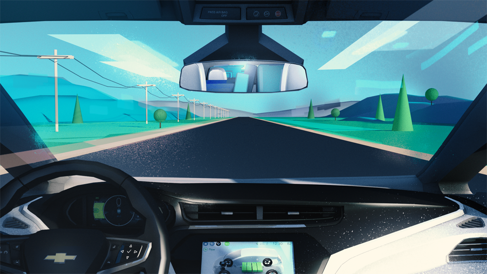 chevy bolt style frames storyboards 3d illustration animation